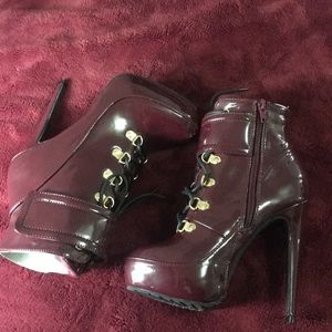 Burgundy Leather Booties.